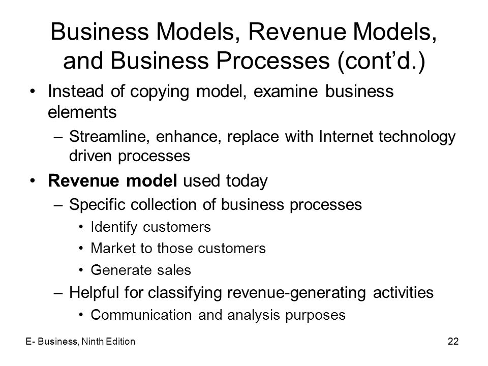 Business Models, Revenue Models, and Business Processes (cont'd.)