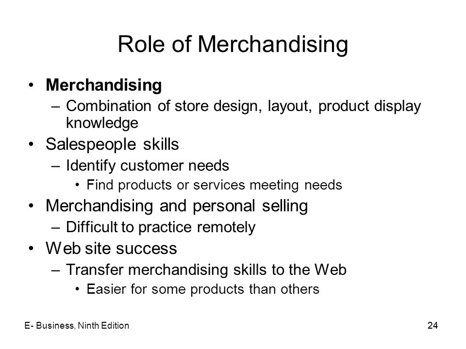 Role of Merchandising Merchandising Salespeople skills