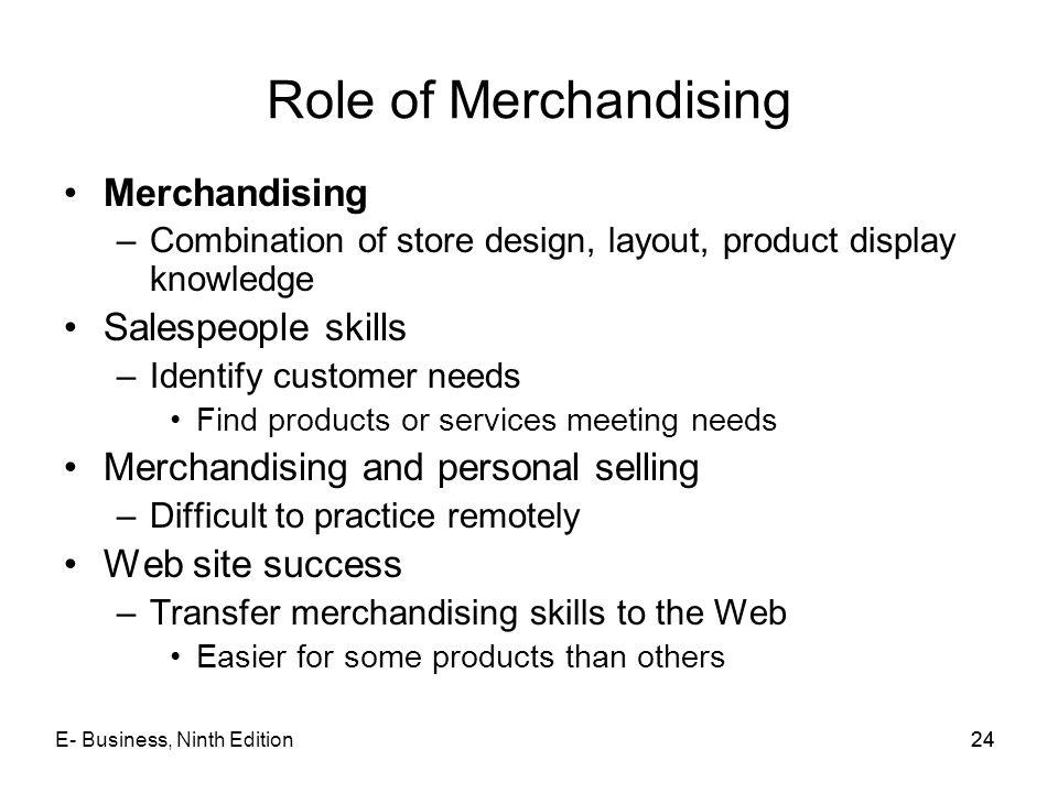 Role of Merchandising Merchandising Salespeople skills