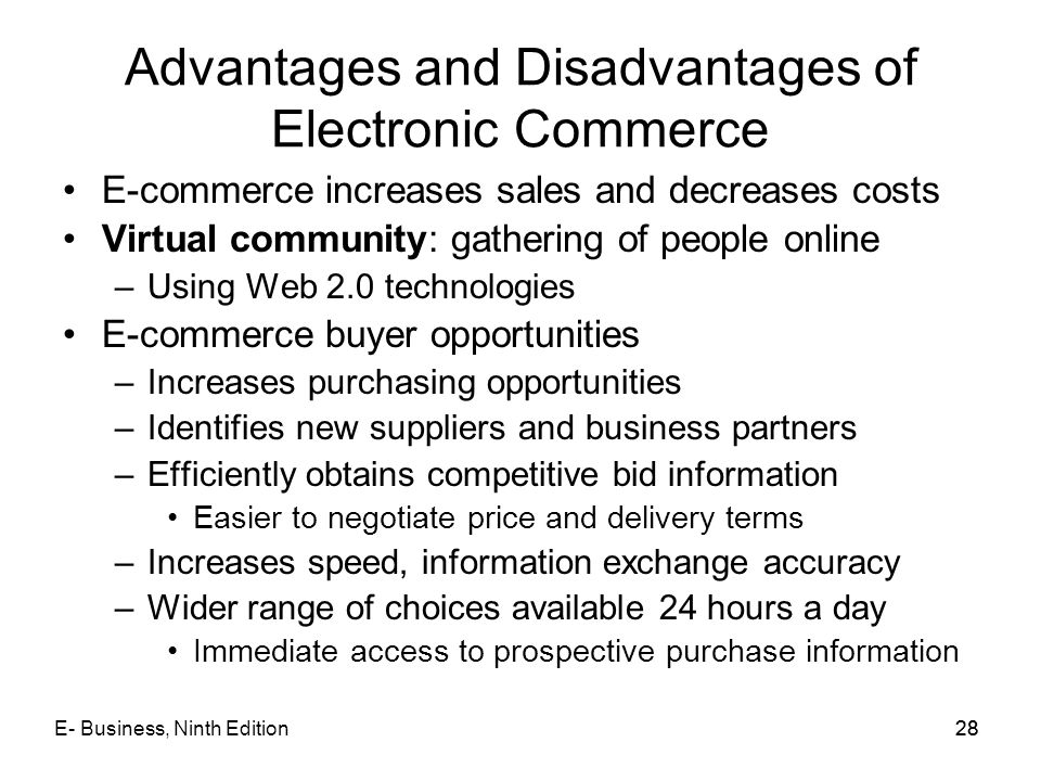 Advantages and Disadvantages of Electronic Commerce
