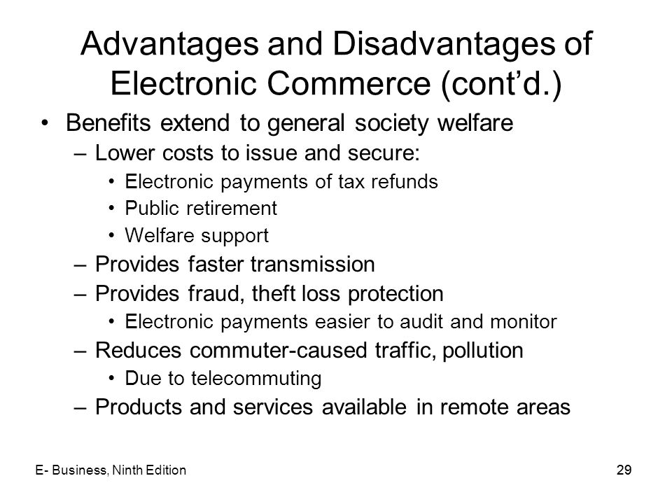 Advantages and Disadvantages of Electronic Commerce (cont'd.)