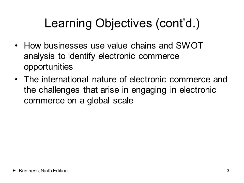 Learning Objectives (cont'd.)