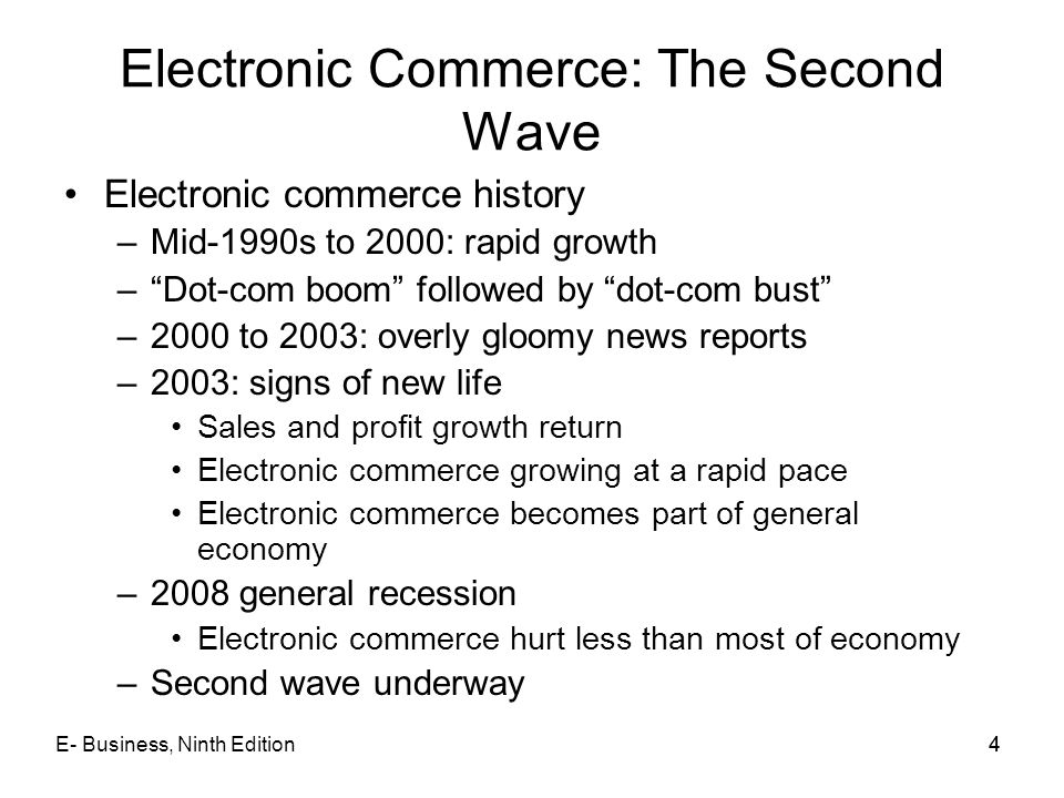Electronic Commerce: The Second Wave