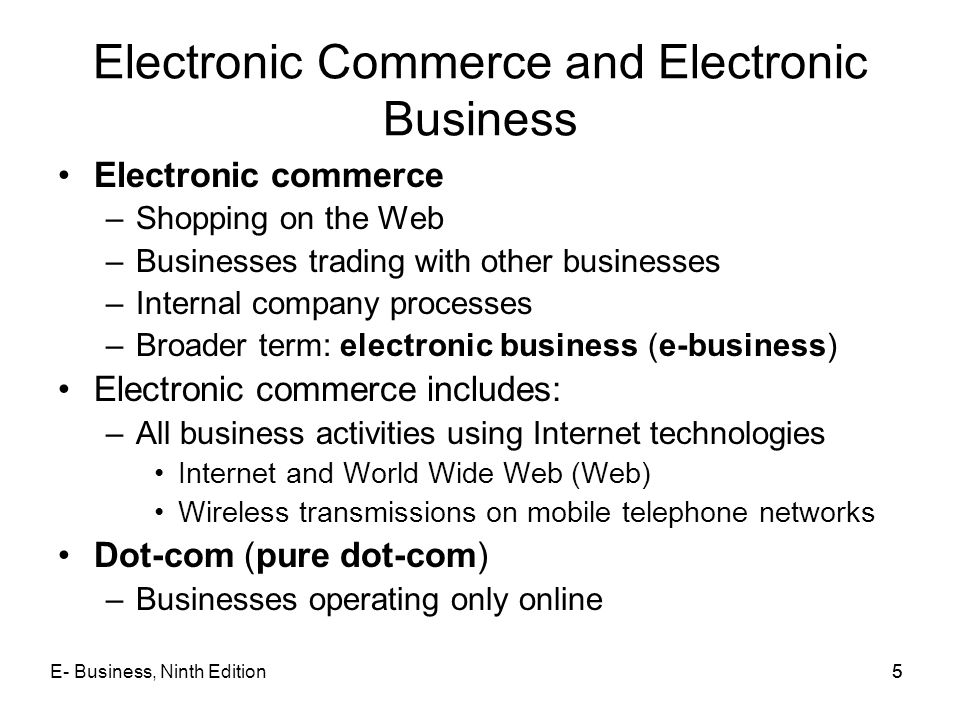 Electronic Commerce and Electronic Business