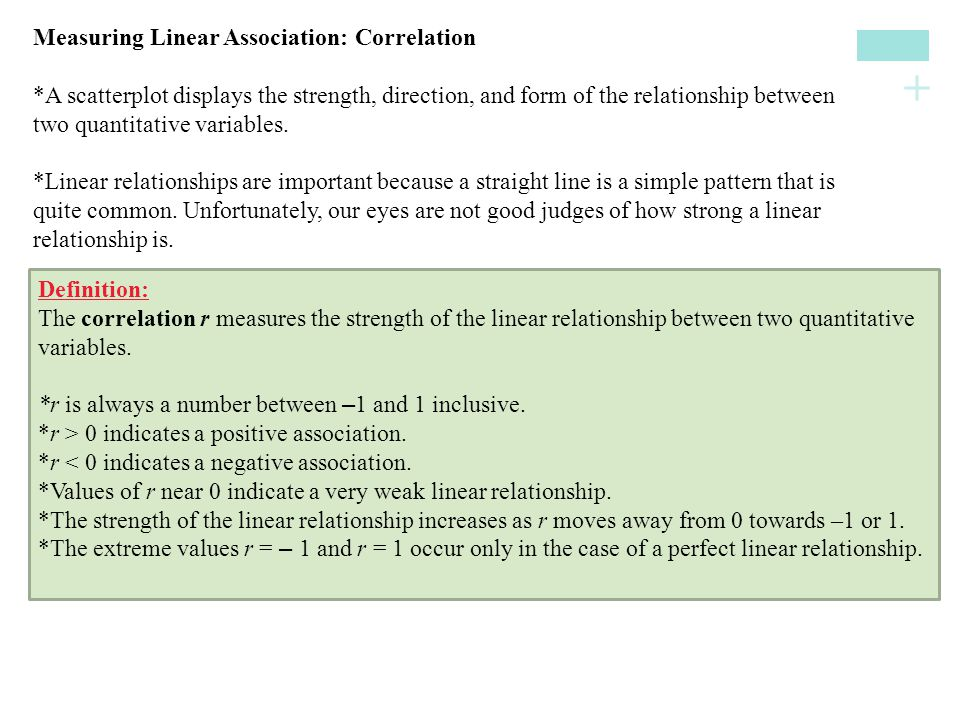 Measuring Linear Association: Correlation