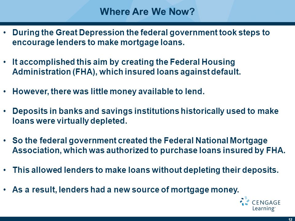 Where Are We Now During the Great Depression the federal government took steps to encourage lenders to make mortgage loans.
