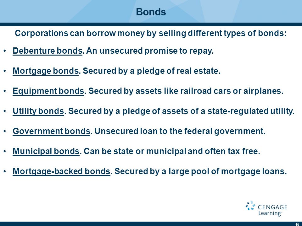 Corporations can borrow money by selling different types of bonds: