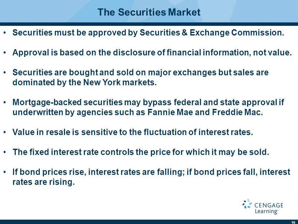 The Securities Market Securities must be approved by Securities & Exchange Commission.
