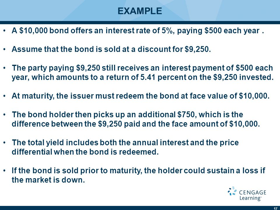 EXAMPLE A $10,000 bond offers an interest rate of 5%, paying $500 each year . Assume that the bond is sold at a discount for $9,250.