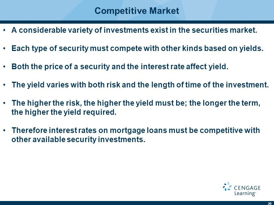 Competitive Market A considerable variety of investments exist in the securities market.