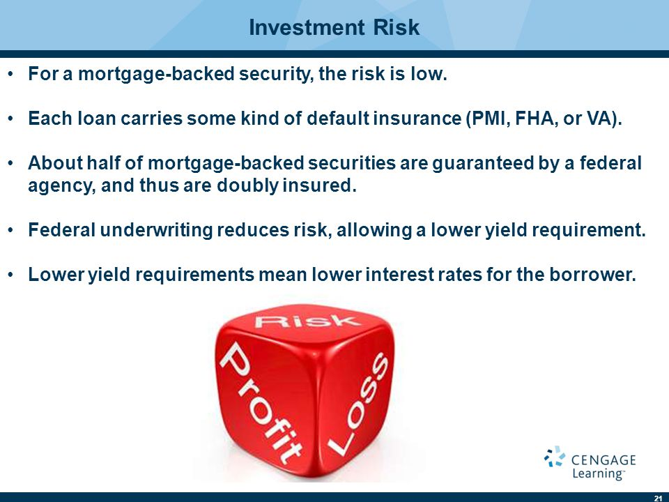 Investment Risk For a mortgage-backed security, the risk is low.