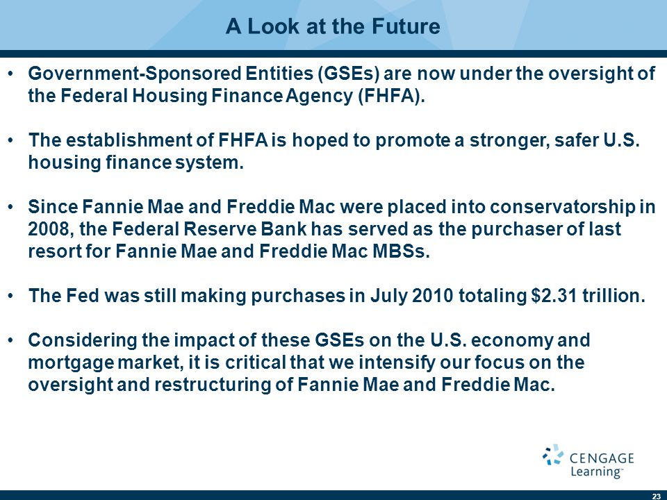 A Look at the Future Government-Sponsored Entities (GSEs) are now under the oversight of the Federal Housing Finance Agency (FHFA).