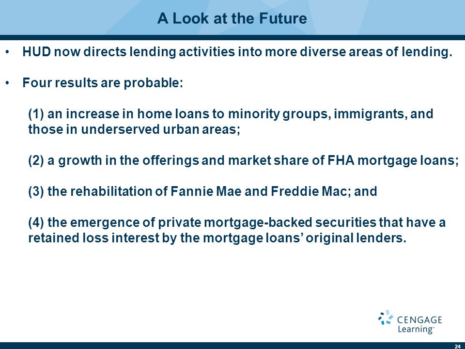 A Look at the Future HUD now directs lending activities into more diverse areas of lending. Four results are probable: