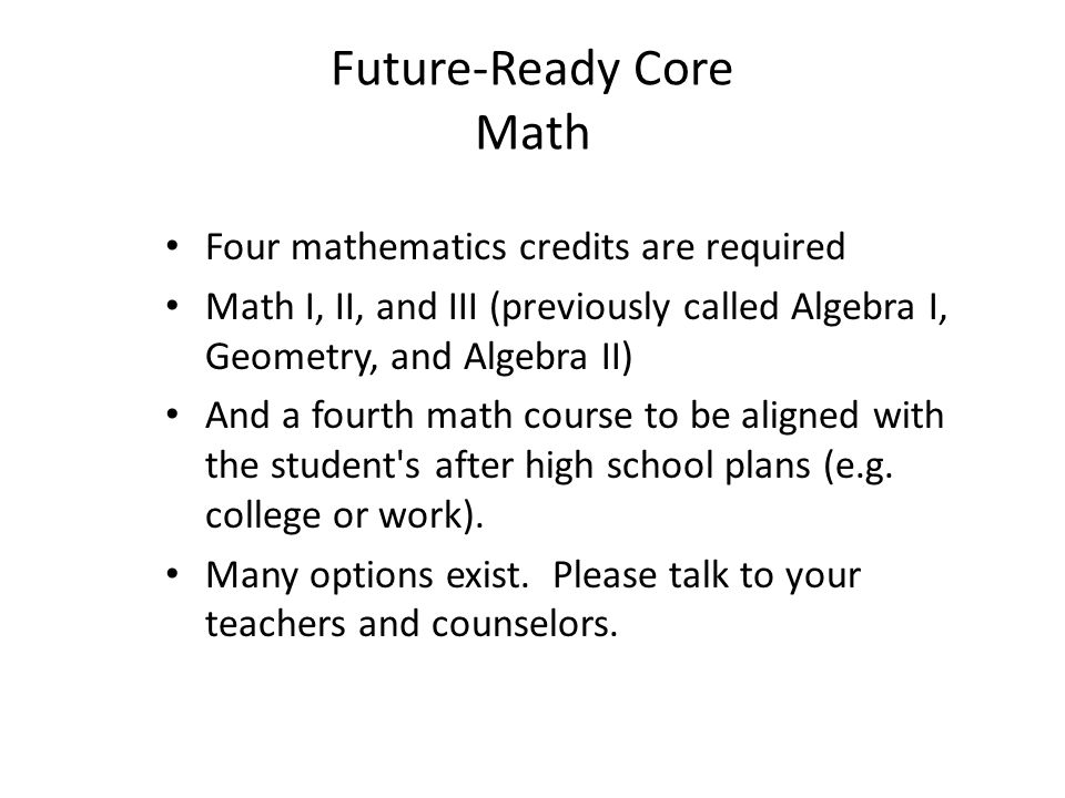 Future-Ready Core Math