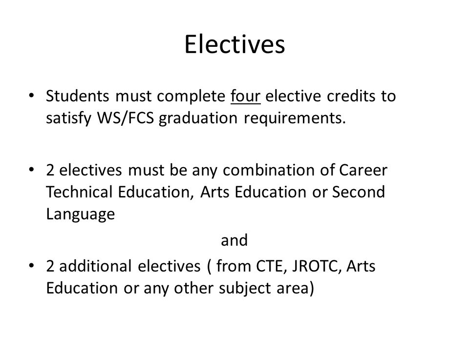 Electives Students must complete four elective credits to satisfy WS/FCS graduation requirements.