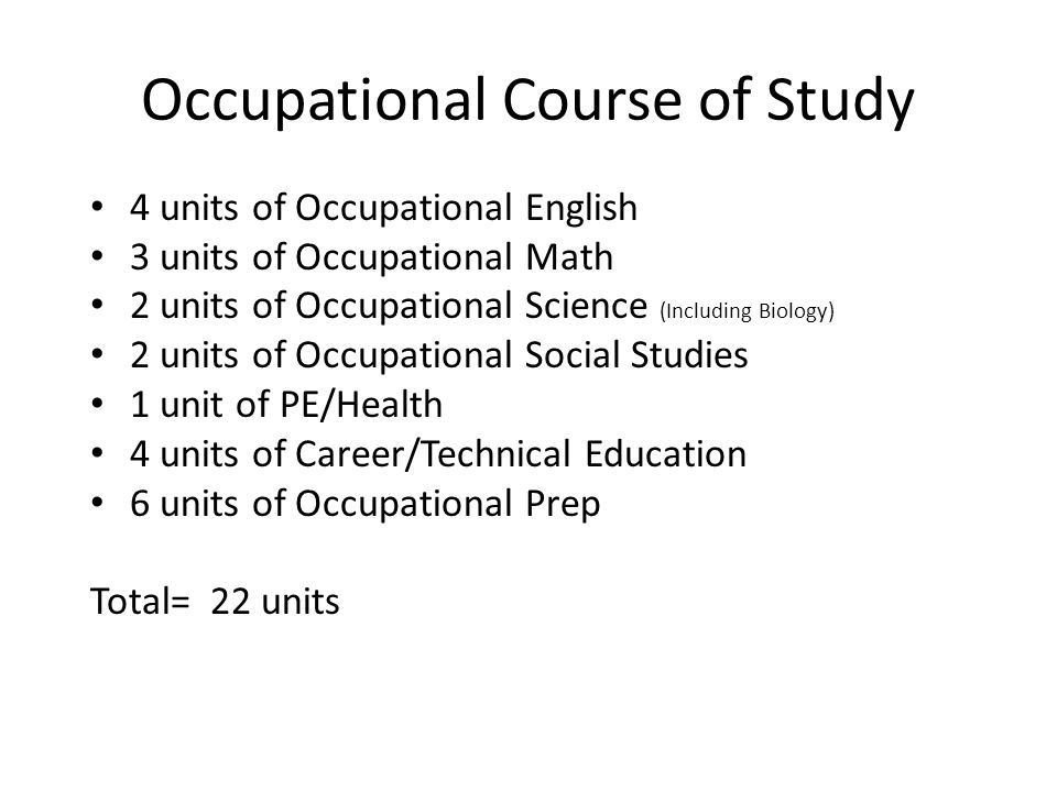 Occupational Course of Study