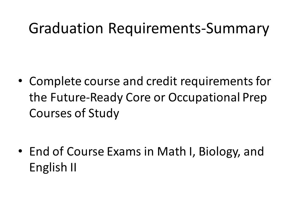 Graduation Requirements-Summary
