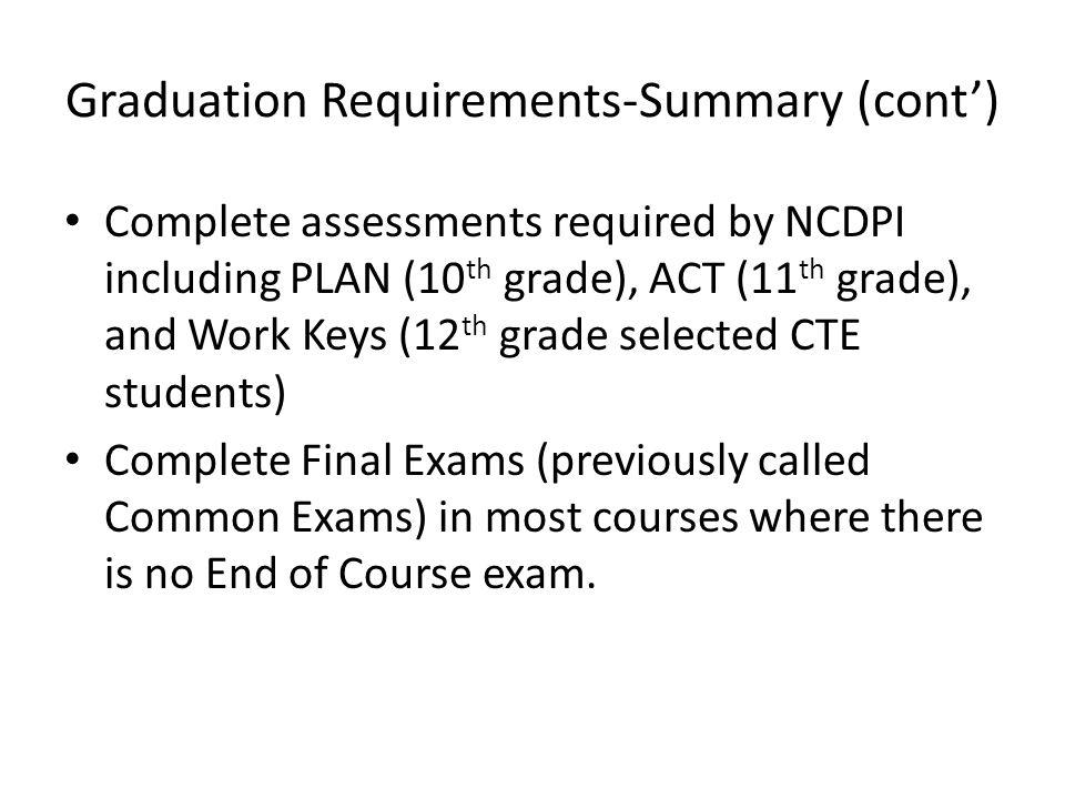 Graduation Requirements-Summary (cont')