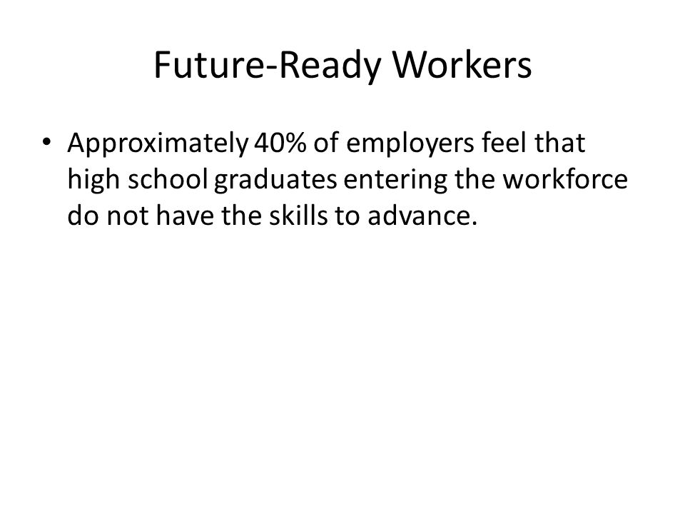 Future-Ready Workers Approximately 40% of employers feel that high school graduates entering the workforce do not have the skills to advance.