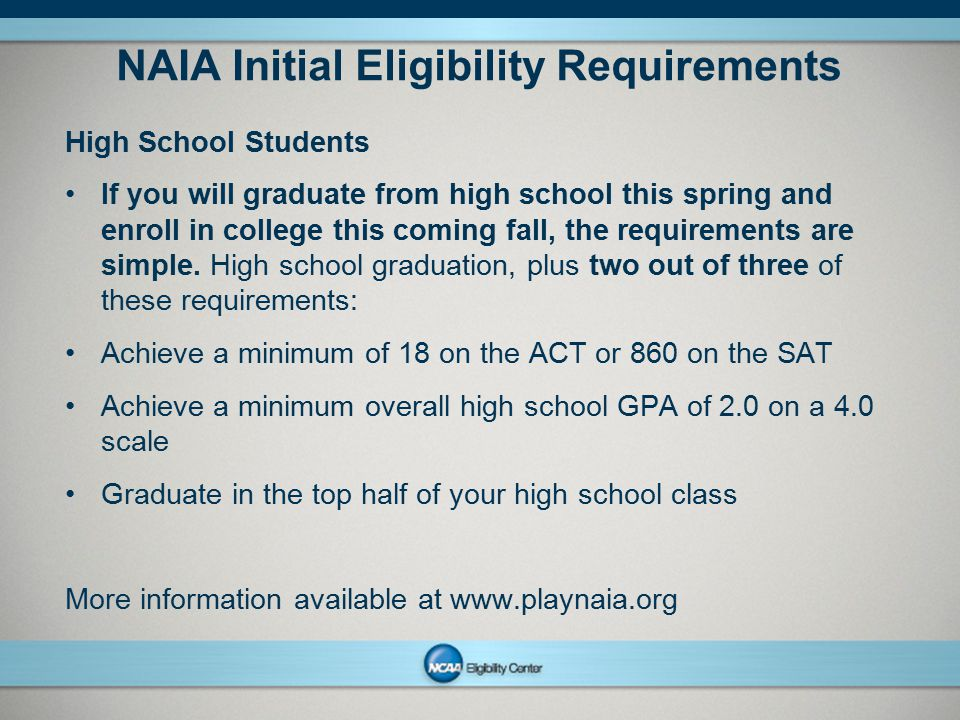 NAIA Initial Eligibility Requirements