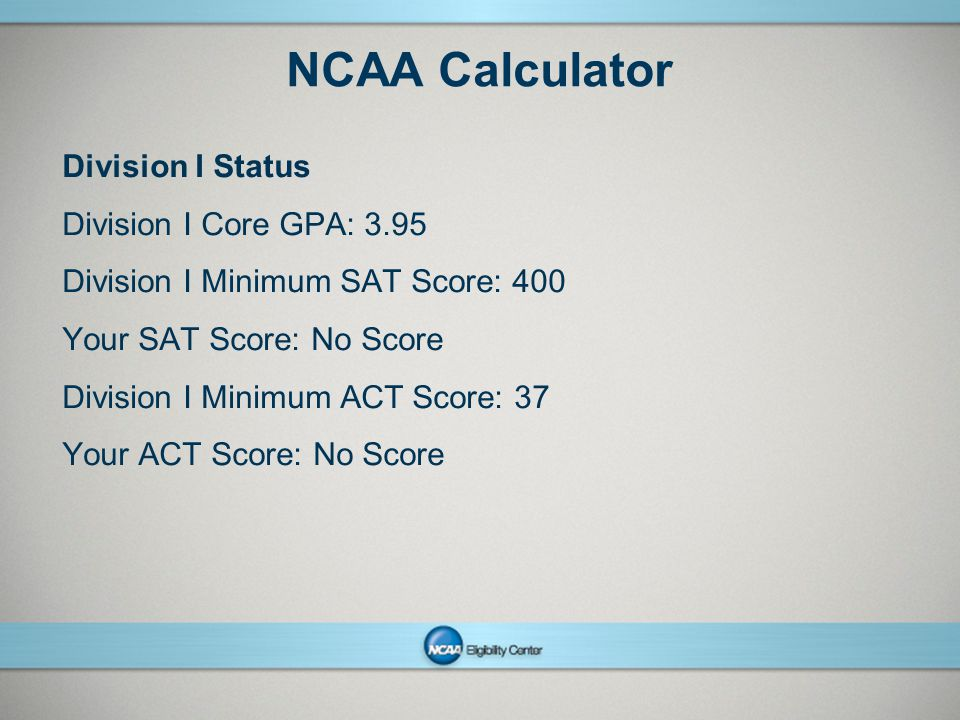 NCAA Calculator Division I Status Division I Core GPA: 3.95