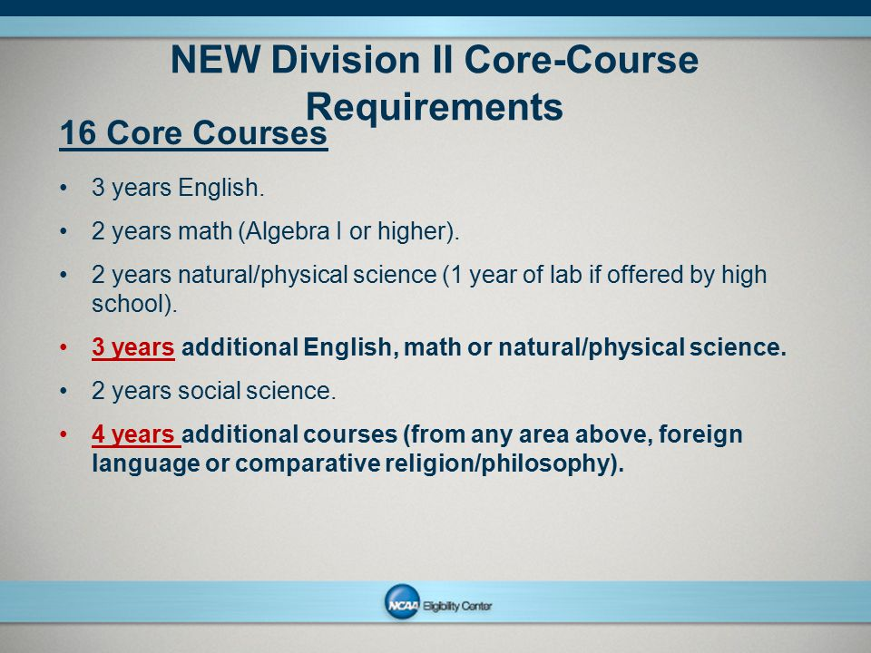 NEW Division II Core-Course Requirements