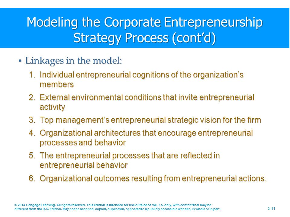 Modeling the Corporate Entrepreneurship Strategy Process (cont'd)