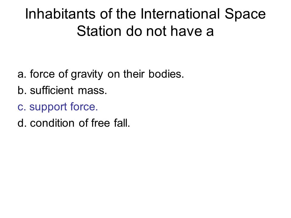 Inhabitants of the International Space Station do not have a