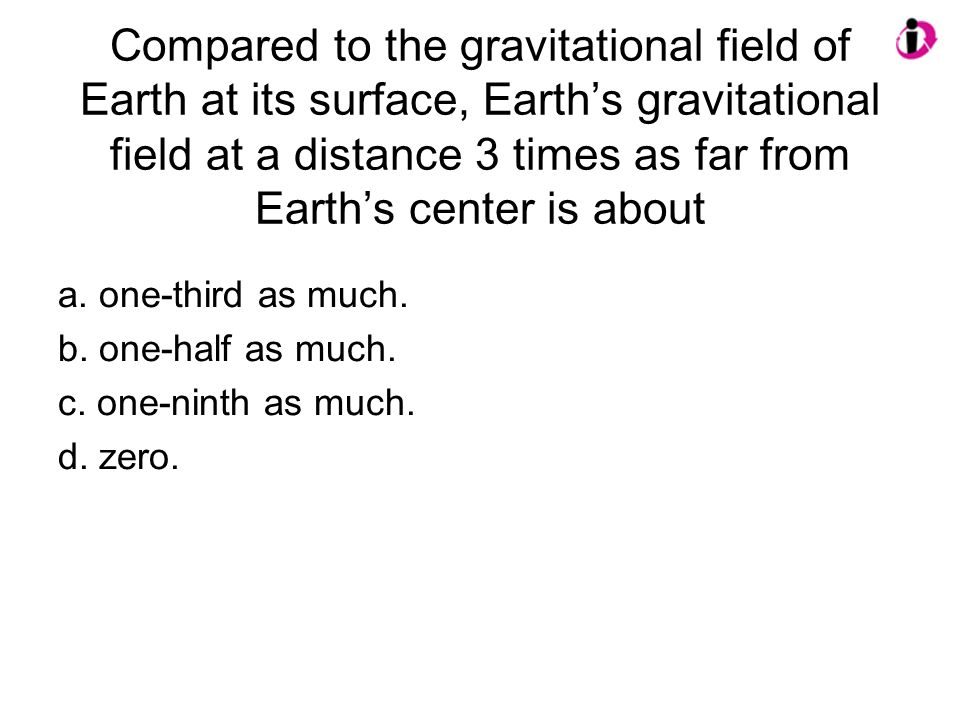Compared to the gravitational field of Earth at its surface, Earth's gravitational field at a distance 3 times as far from Earth's center is about