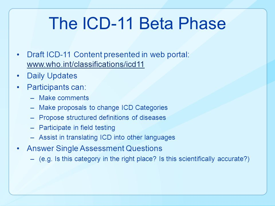 The ICD-11 Beta Phase Draft ICD-11 Content presented in web portal: www.who.int/classifications/icd11.