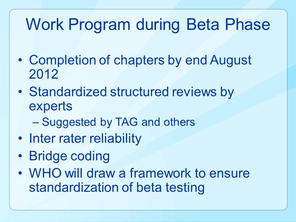 Work Program during Beta Phase