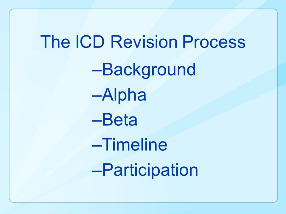 The ICD Revision Process