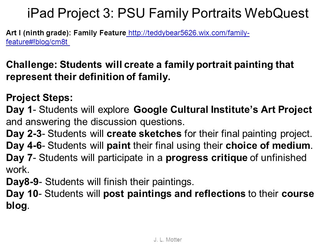 iPad Project 3: PSU Family Portraits WebQuest