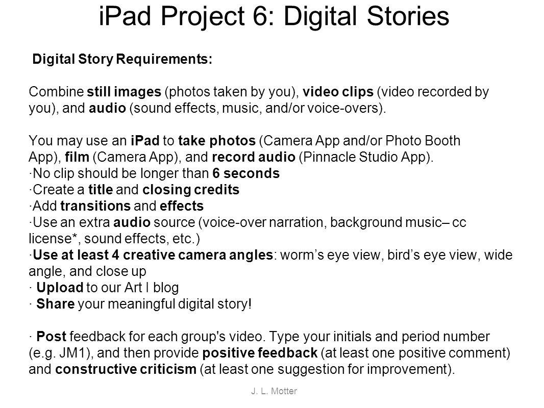 iPad Project 6: Digital Stories