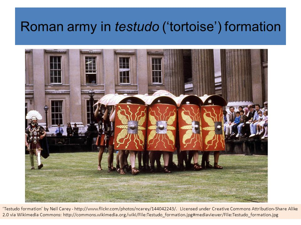 Roman army in testudo ('tortoise') formation