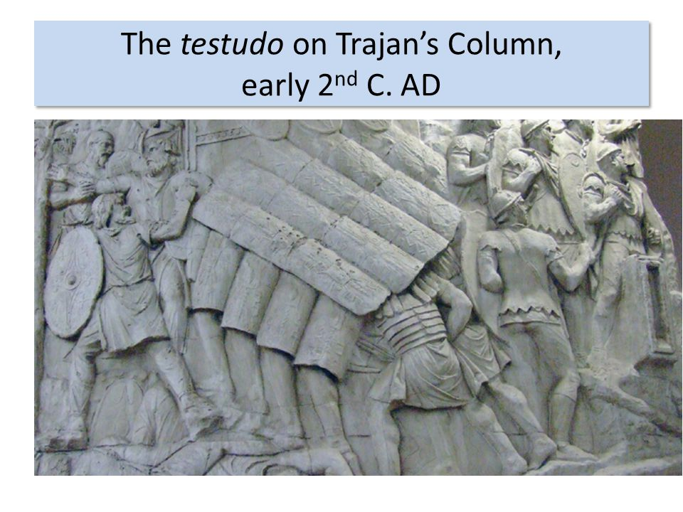 The testudo on Trajan's Column, early 2nd C. AD