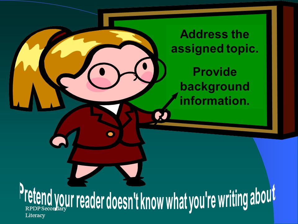 Address the assigned topic. Provide background information.