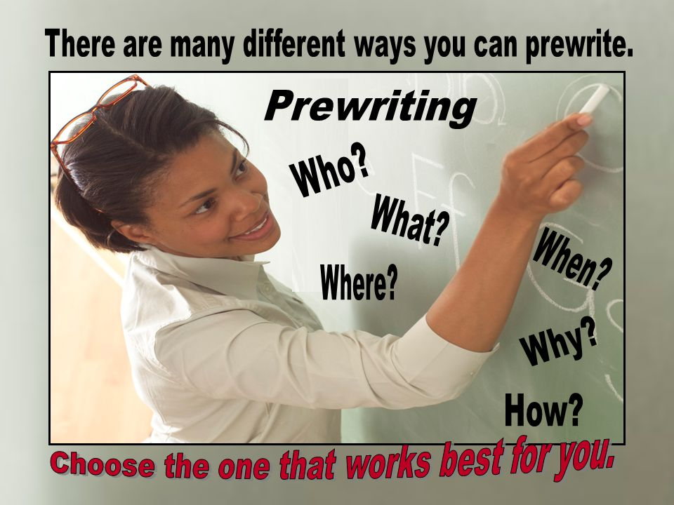 There are many different ways you can prewrite.