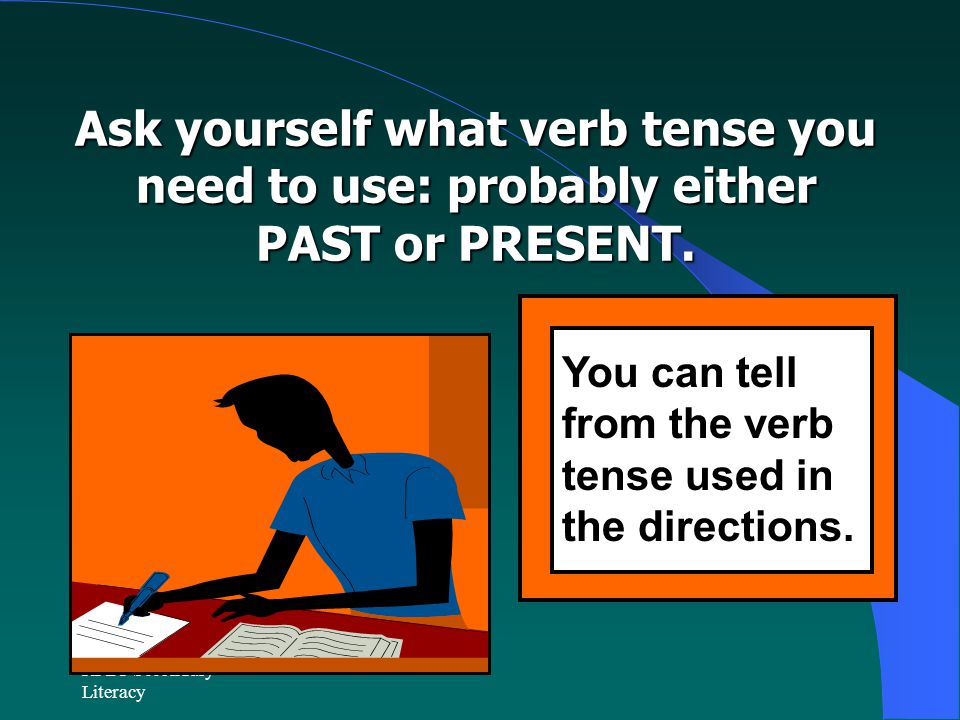 Ask yourself what verb tense you need to use: probably either PAST or PRESENT.
