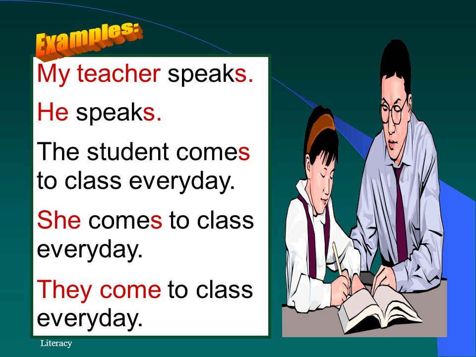My teacher speaks. He speaks. The student comes to class everyday.