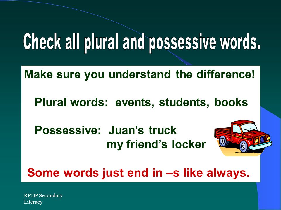 Check all plural and possessive words.