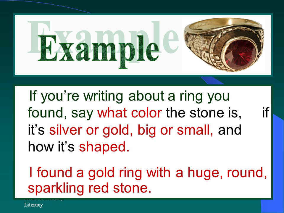 I found a gold ring with a huge, round, sparkling red stone.