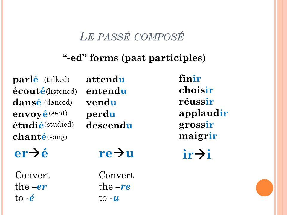 eré reu iri Le passé composé -ed forms (past participles) parlé