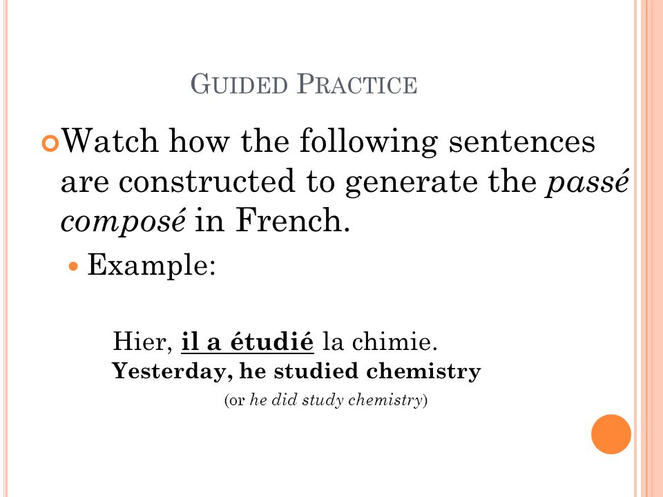 (or he did study chemistry)
