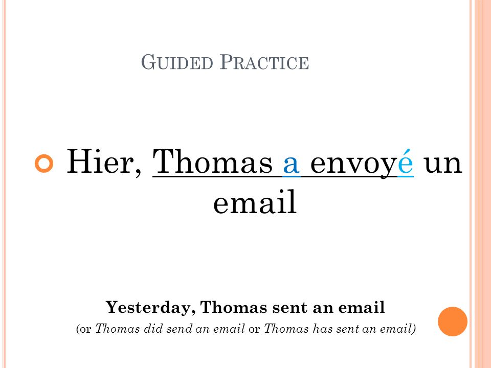 Yesterday, Thomas sent an email
