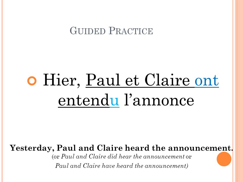 Yesterday, Paul and Claire heard the announcement.