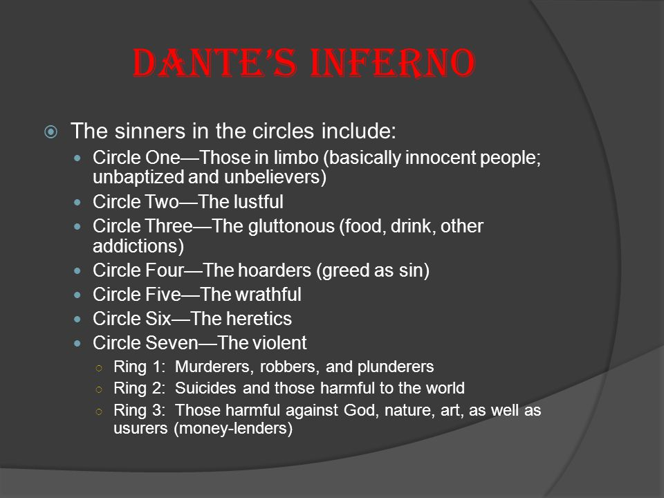 Dante's Inferno The sinners in the circles include: