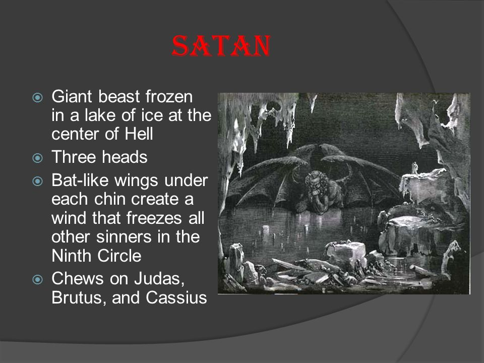 SATAN Giant beast frozen in a lake of ice at the center of Hell