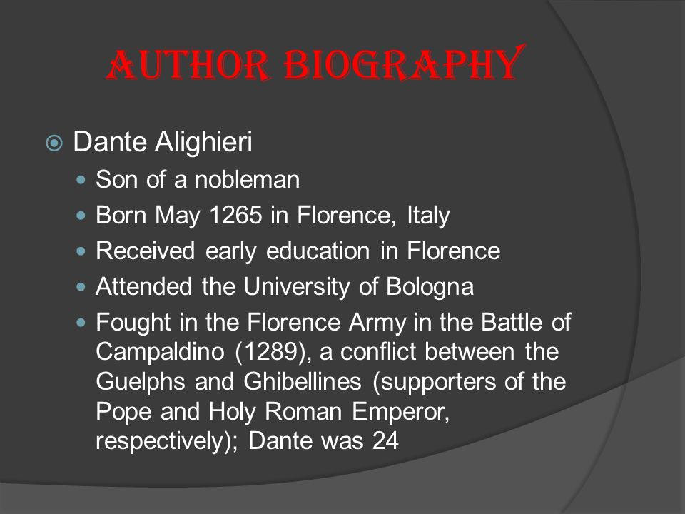 Author Biography Dante Alighieri Son of a nobleman