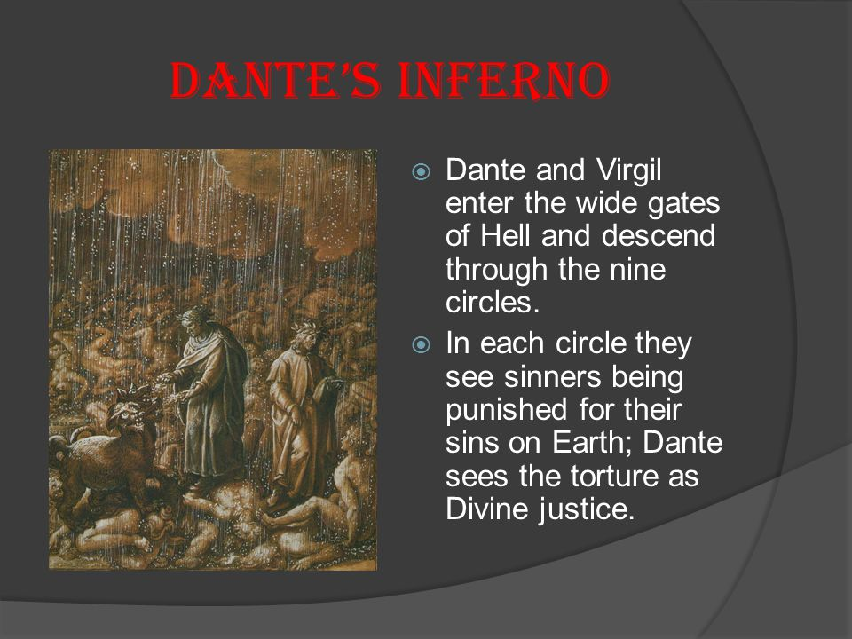 Dante's Inferno Dante and Virgil enter the wide gates of Hell and descend through the nine circles.
